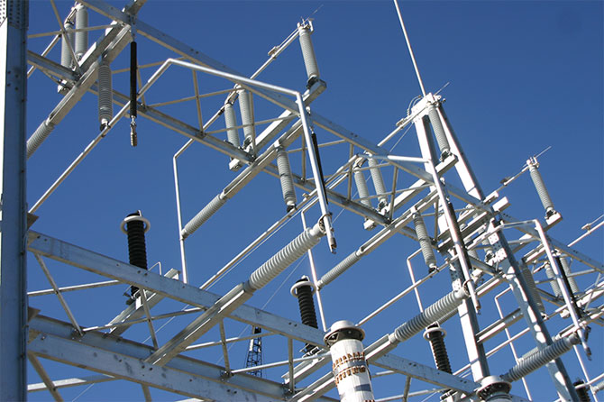 A close up photo of power lines